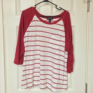 Forever 21 Red and White Baseball Type Tee